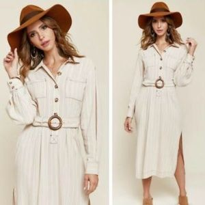 Free People Ivory Stripes Audrey Midi Dress